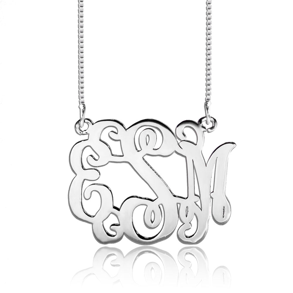 Silver Personalized Script Monogram Pendant Necklace