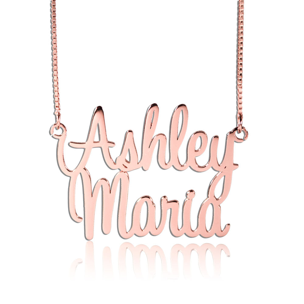 Double Name Necklace Personalized Rose Gold