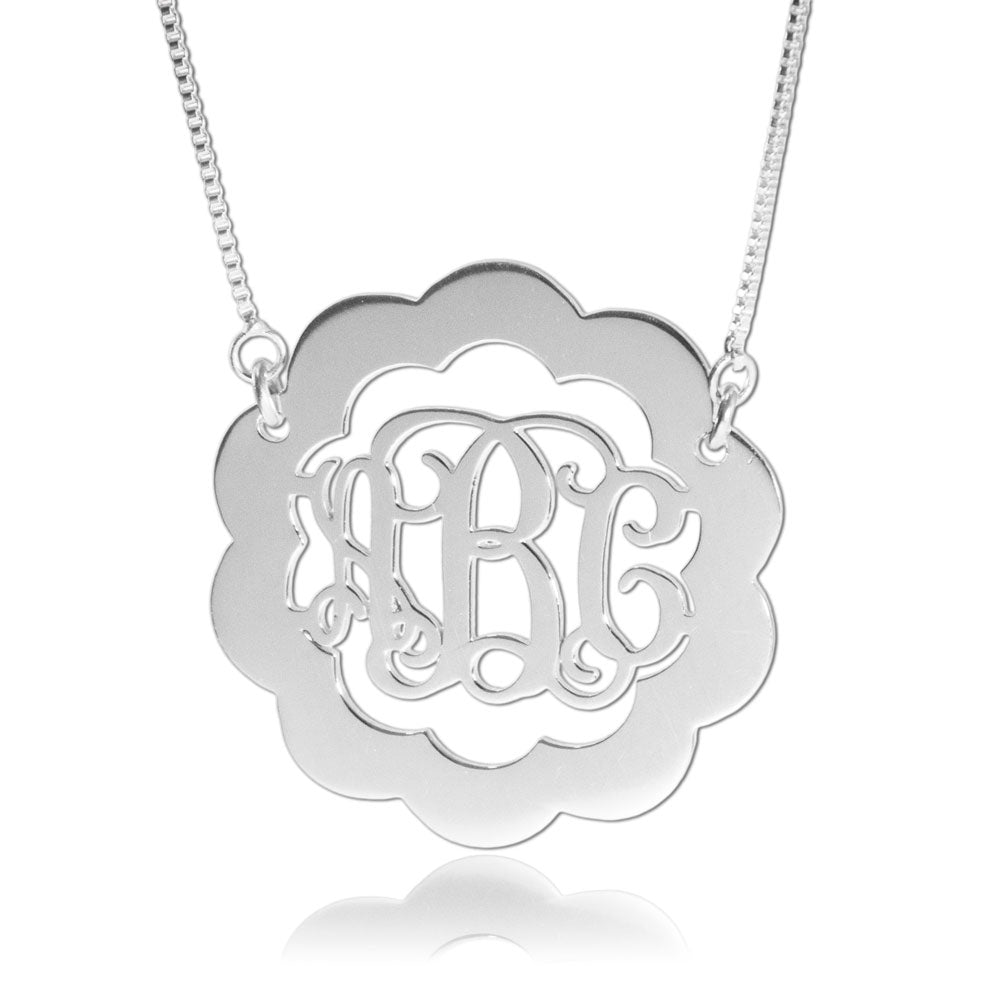 Silver Scalloped Monogram Necklace
