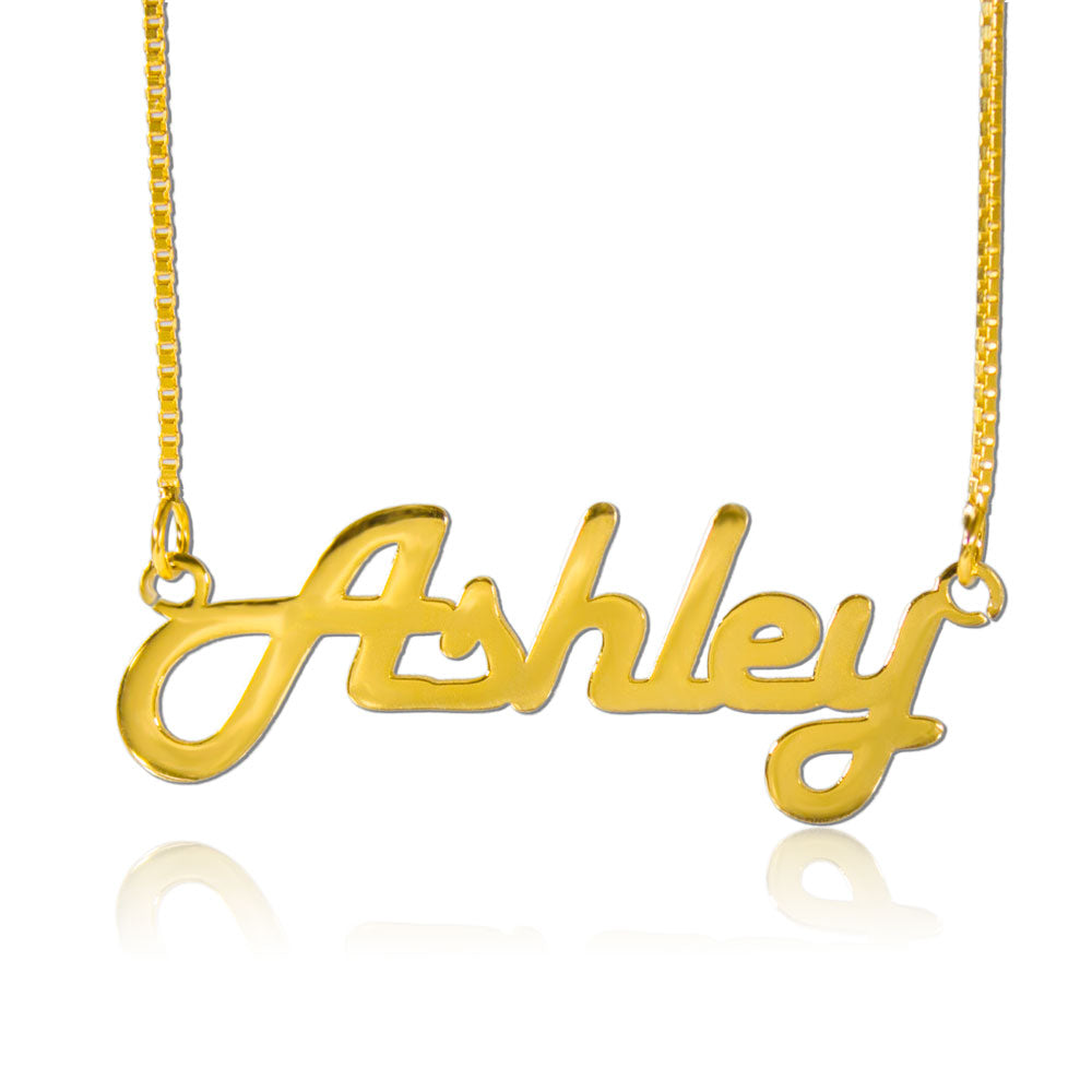 Gold Retro Personalized Name Necklace