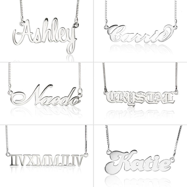 Personalized Name Necklace Sterling Silver 6 Font Holiday Gift