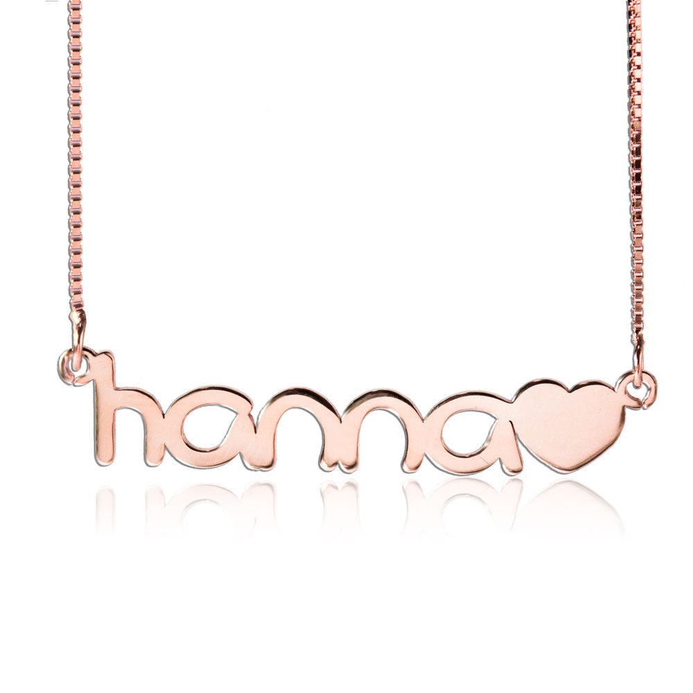 Name Necklace With Heart Rose Gold