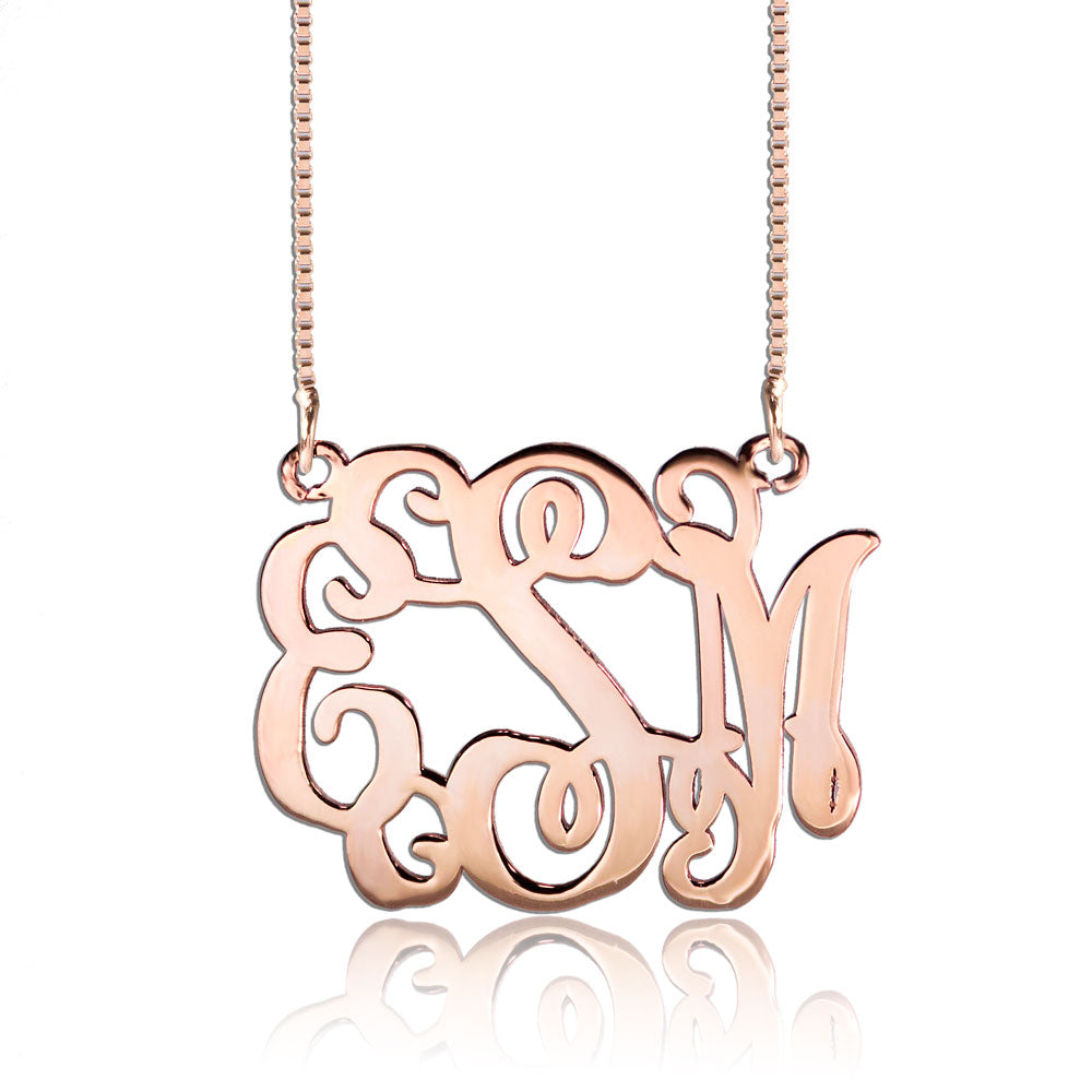 Monogram Necklace Rose Gold Cheap