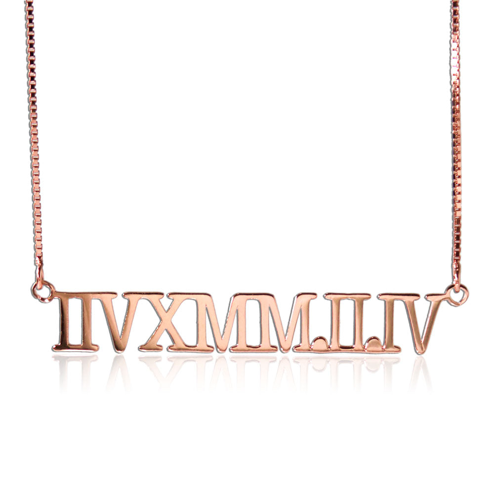 Personalized Roman Number Necklace Rose Gold