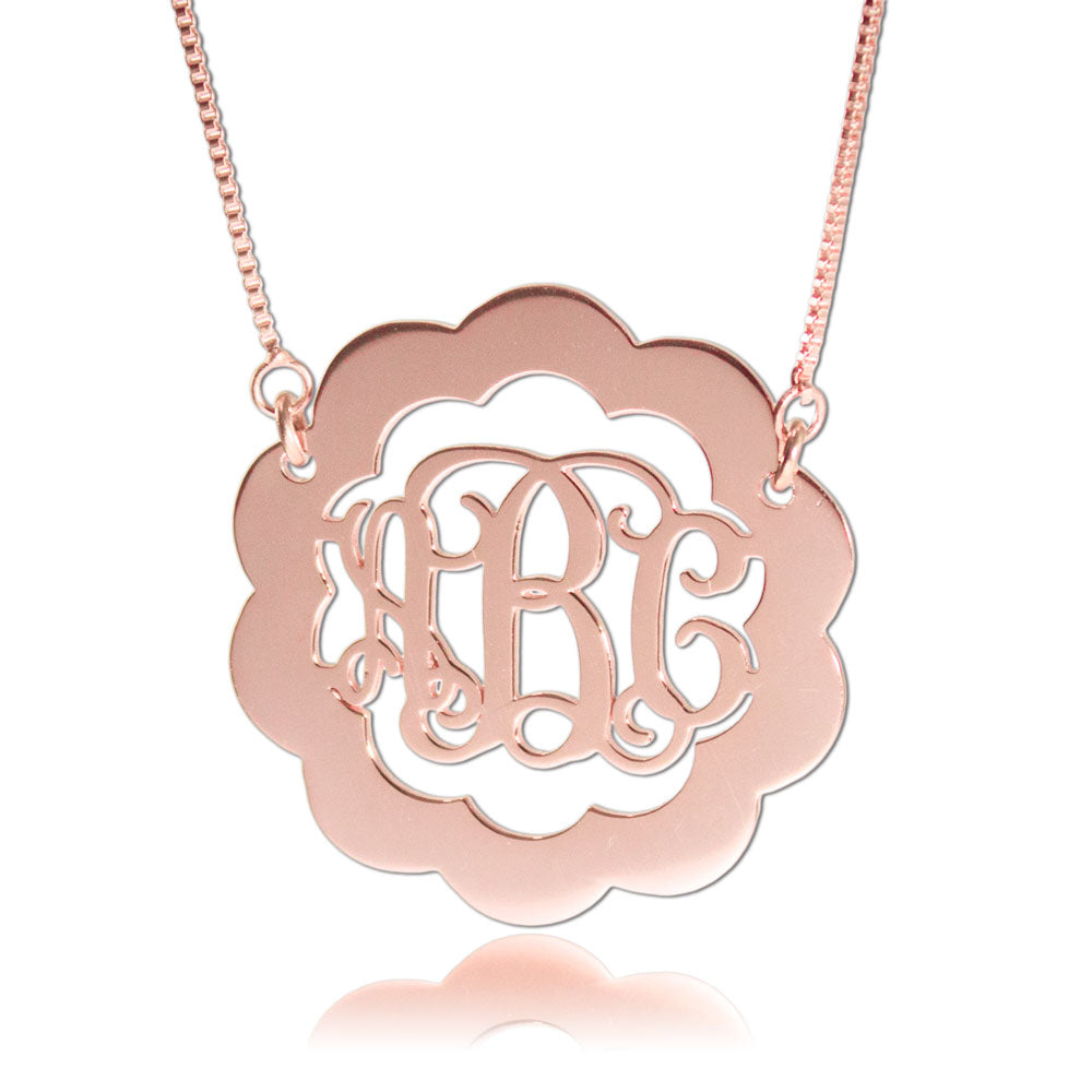 Rose Gold Monogram Necklace Scalloped
