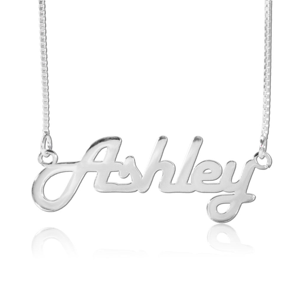 Silver Retro Personalized Name Necklace
