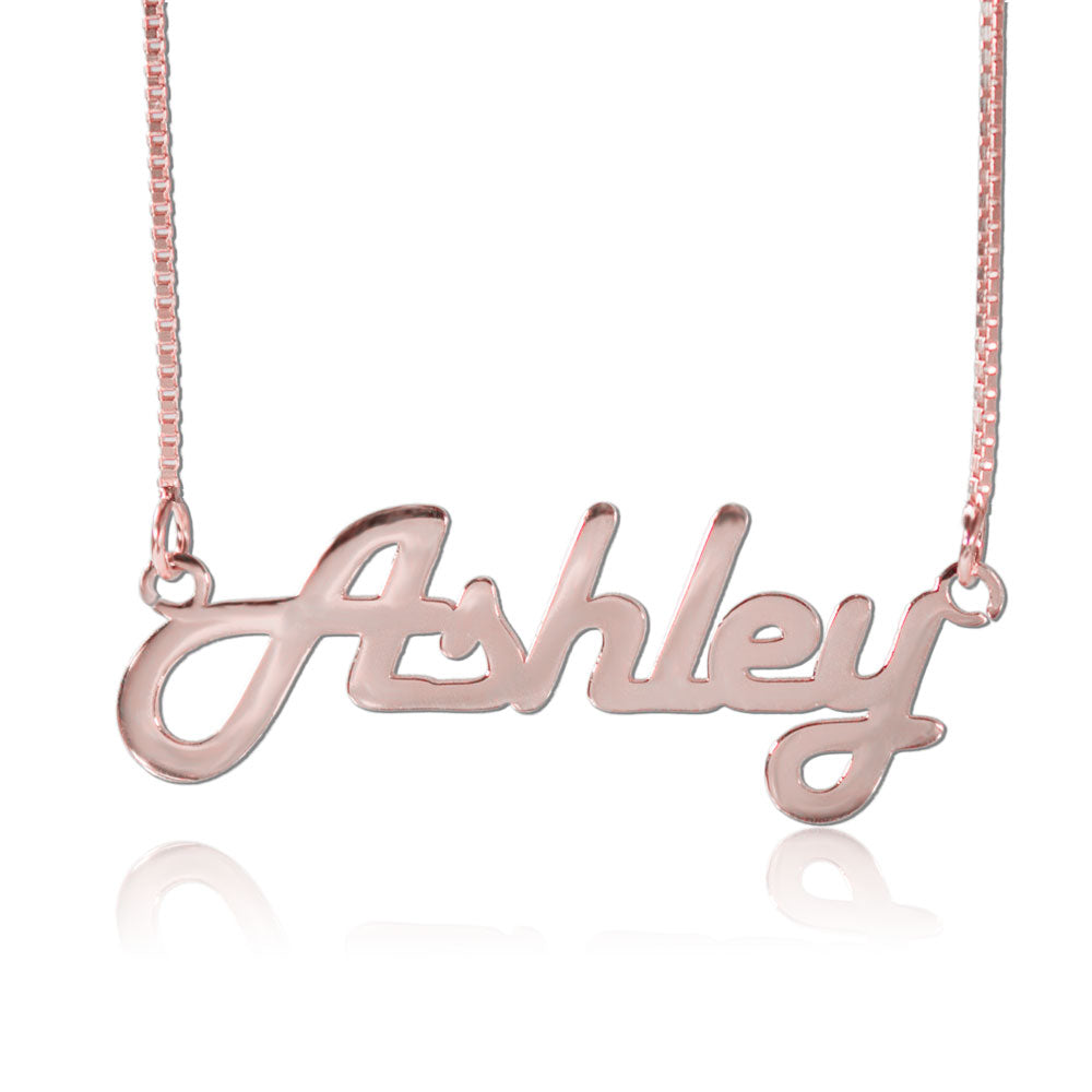 Rose Gold Retro Personalized Name Necklace