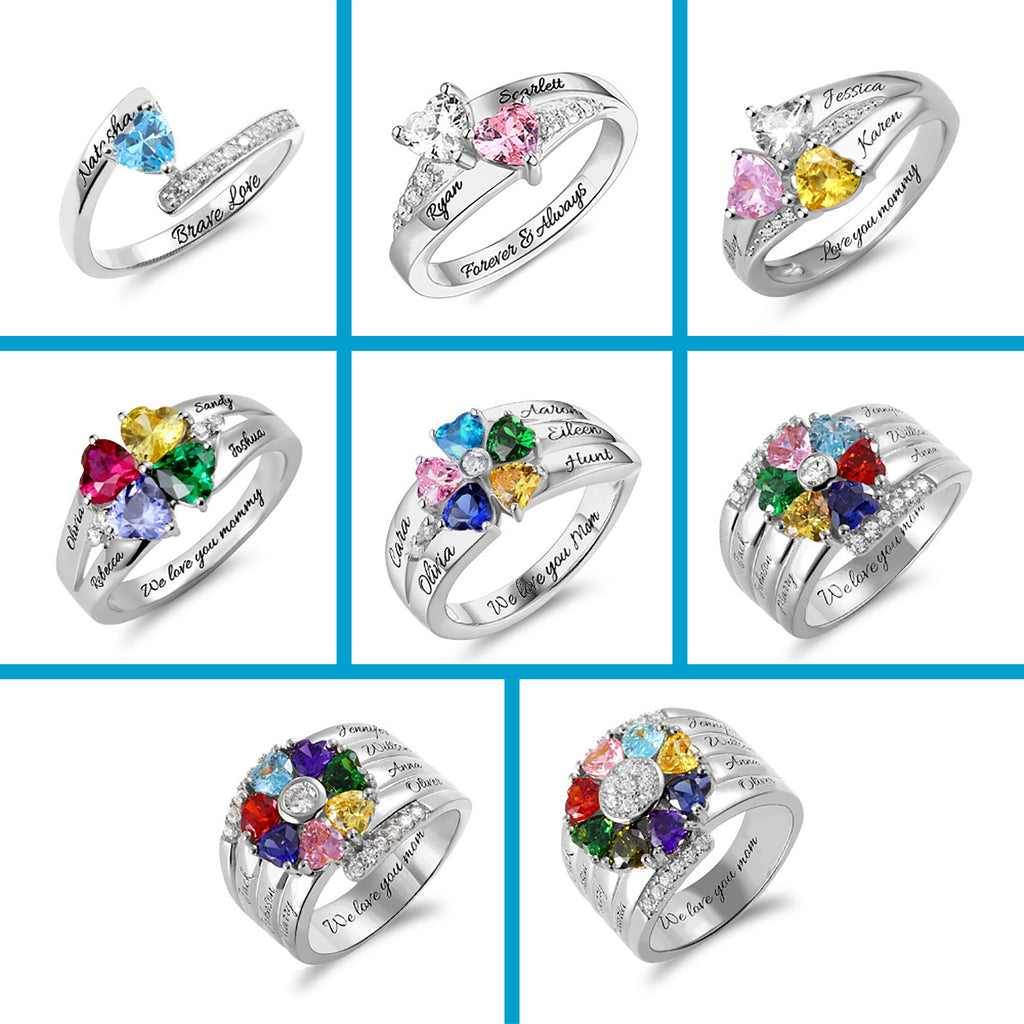 Birthstone Ring Personalized 1-8 Names Engraved Ring