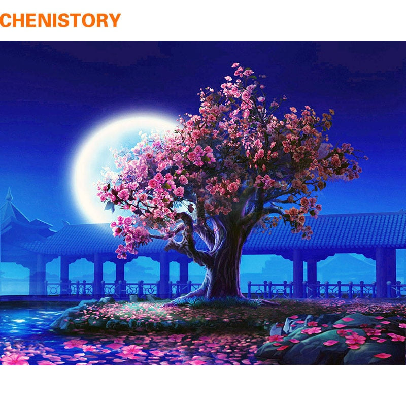 Romantic Moon And Cherry Blossom