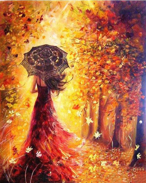 Woman in a Fall Forest