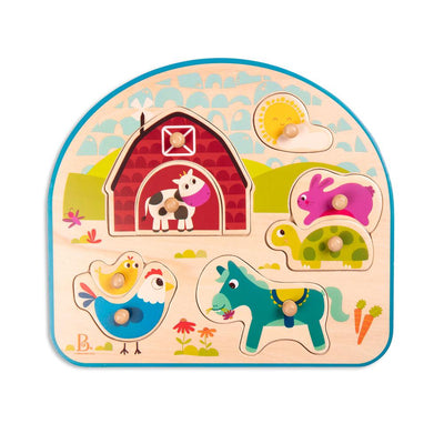 B.Toys - Wooden Peg Puzzle - Animal Barnyard - 8pc
