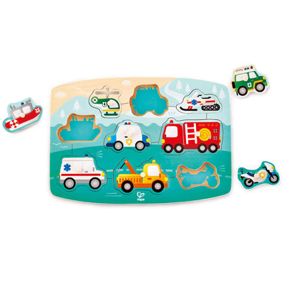 Hape - Peg Puzzle - Emergency Vehicles - 10pc