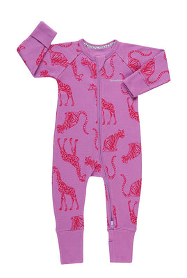 Bonds - Ribby Zippy Wondersuit - Animal Party Magic Violet