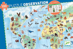 Djeco - Observation Puzzle - World's Animals - 100pc