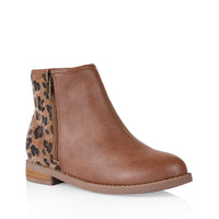 Miss Sachi - Macey Wild Ankle Boot - Tan/Leopard