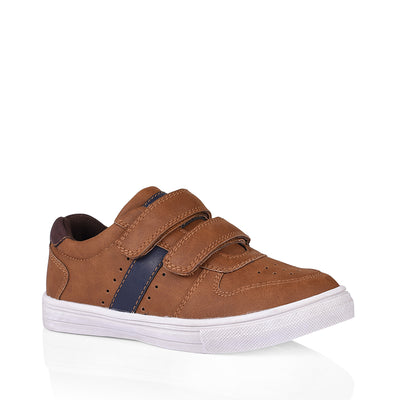 Grosby - Doug Double Velcro Sneaker - Tan/Navy