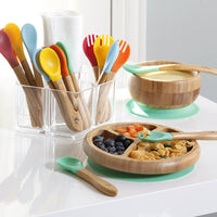 Bamboo Suction Toddler Plate + Spoon - Green