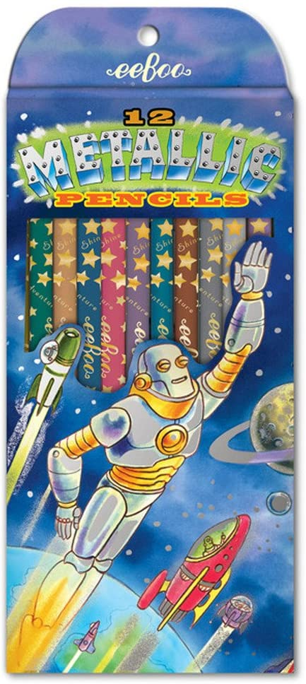 eeBoo - 12 Metallic Pencils - Robot Rescue