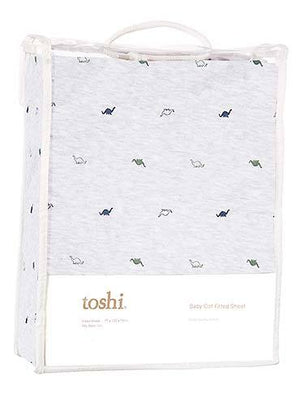 Toshi - Cot Sheet Fitted Knit - Dinosaurs