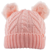 Girls Double Fur Pom Pom Beanie