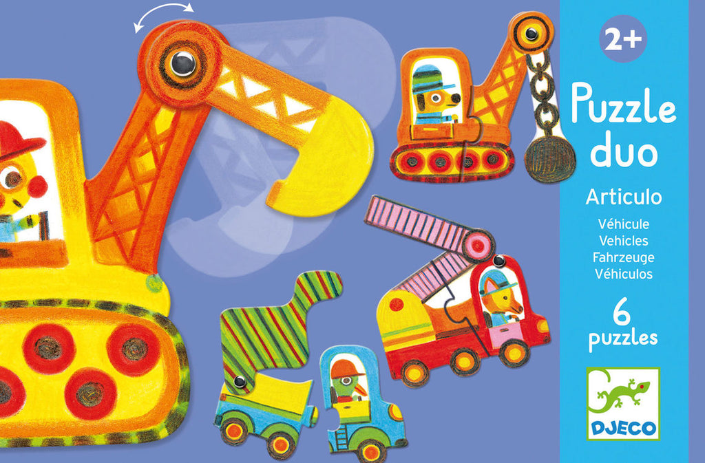 Djeco - Puzzle Duo - Articulated Vehicles - 6 Puzzles
