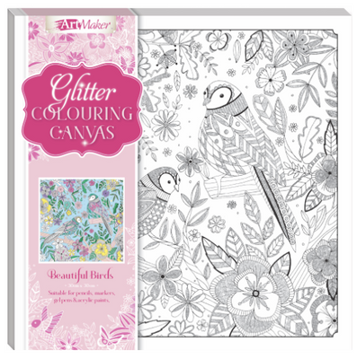 Art Maker Glitter Colouring Canvas : Beautiful Birds