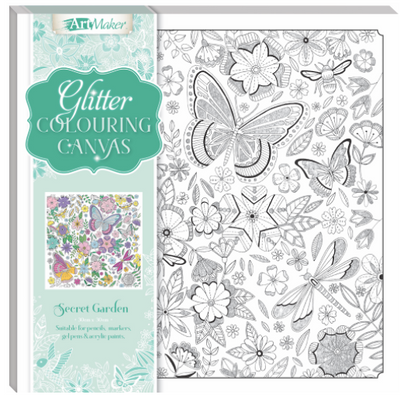 Art Maker Glitter Colouring Canvas : Secret Garden