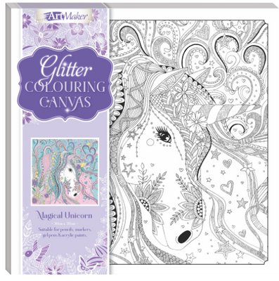 Art Maker Glitter Colouring Canvas : Magical Unicorn