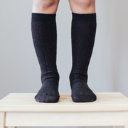 Lamington - Merino Wool Knee High Socks - Black Cable