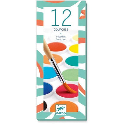 Djeco - Gouaches - 12 Colour Cakes