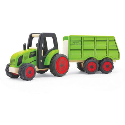 Pintoy - Wooden Tractor with Trailer - Green