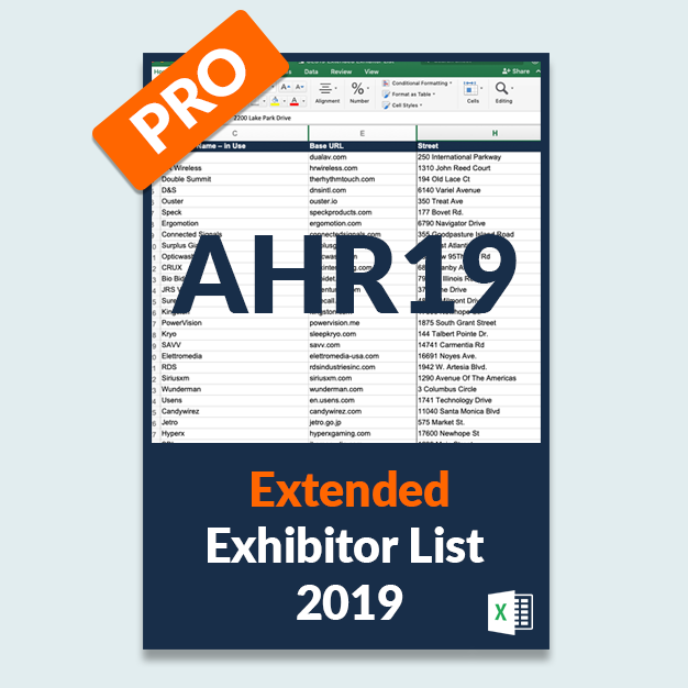 AHR19: Extended Exhibitor List PRO Version