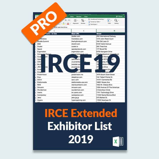 IRCE19: Extended Exhibitor List PRO Version