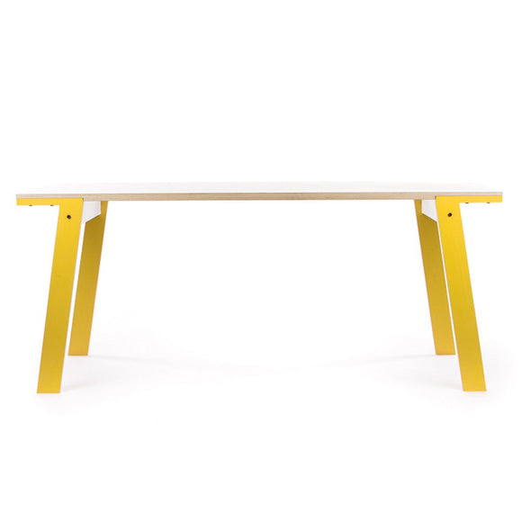 Flat table, yellow legs - Stylish, design led table. Great in the workplace or at home.