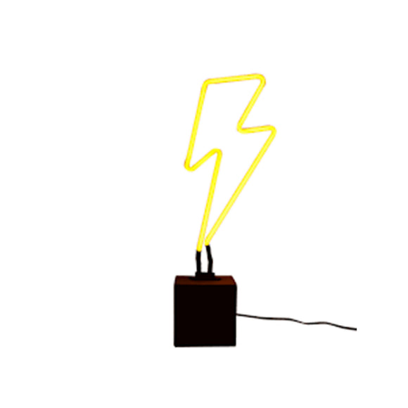 Neon, yellow lightning bolt light.