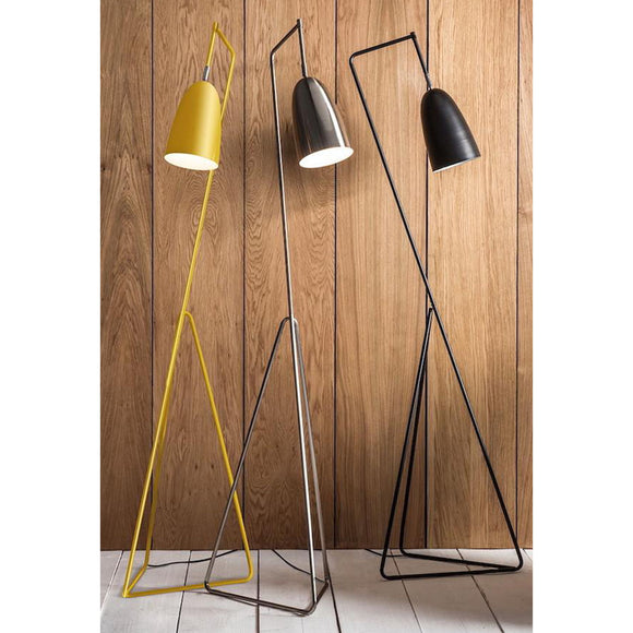 A fantastic floor standing angled lamp in a choice of finishes.