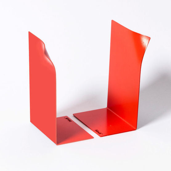 Block Design page bookends in red without books