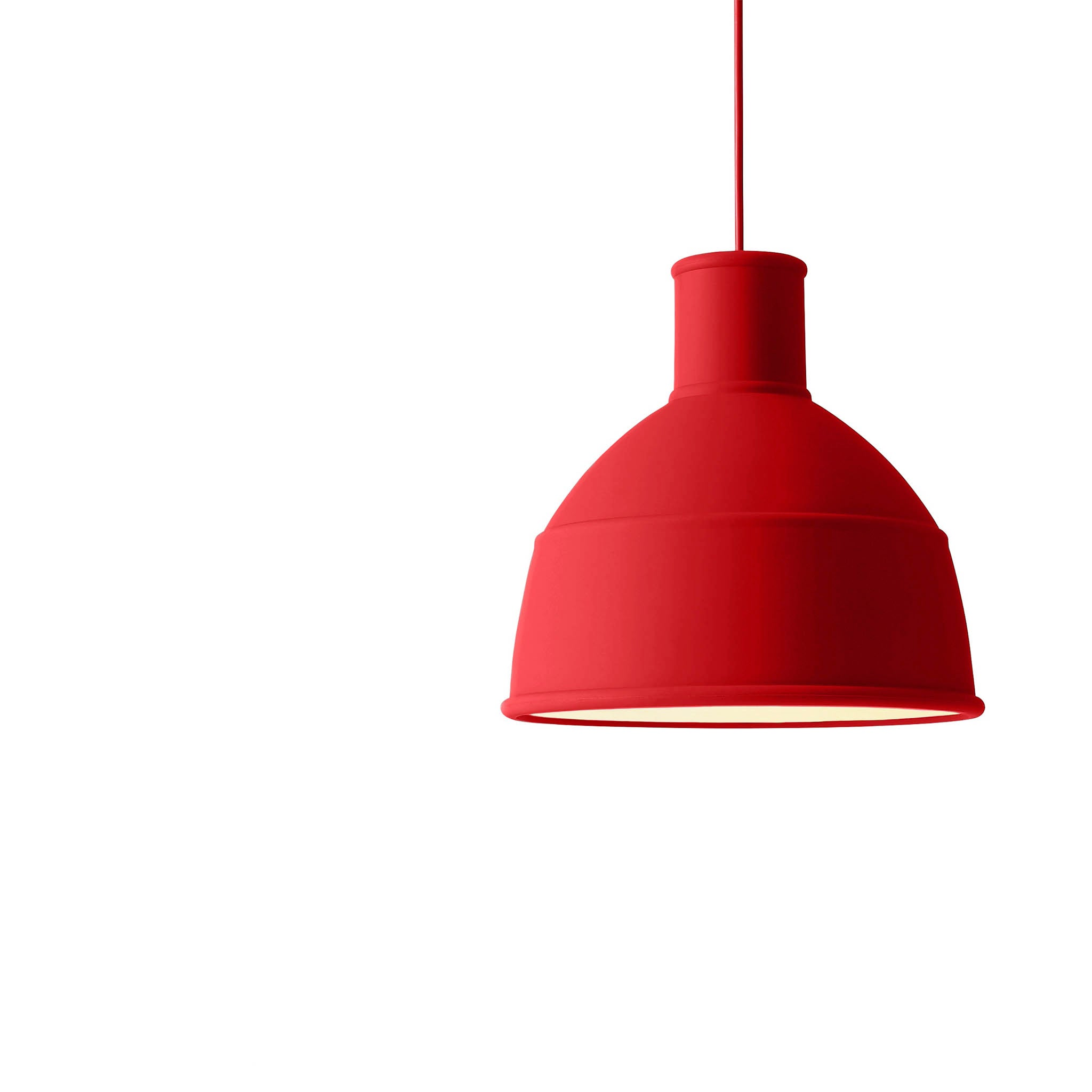 Muuto dusty red unfold pendant light creates a unique and playful take on the classic industrial lamp mozeypictures Images