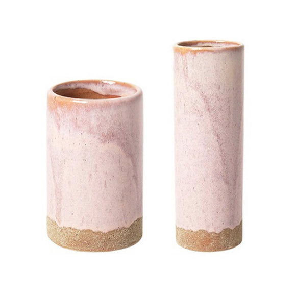 Set of 2 pink and tan ceramic vases, perfect to brighten up any workspace.