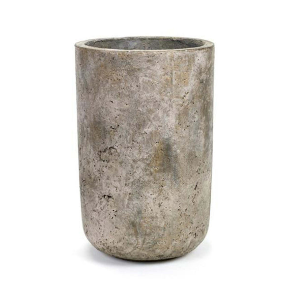 Tall concrete vase, natural textural surface. Great for all workspaces.