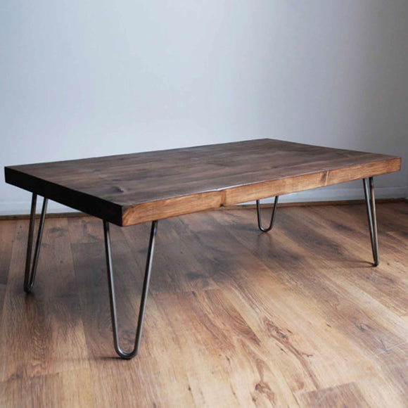 wooden coffee table with hairpin legs. Rustic and impressive, the perfect coffee table for the reception or breakout area in the office.