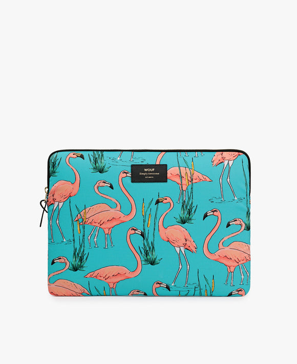 Flamingo laptop sleeve in blue and pink