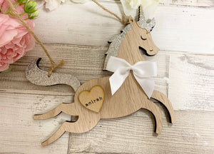 Personalised Silver Unicorn Bauble
