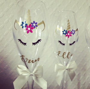 Personalised Unicorn Champagne Flute Set - The Perfect Gift Co.