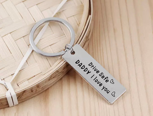 "Novelty Mini Stainless Steel Keyring ""drive safe daddy"" - The Perfect Gift Co."
