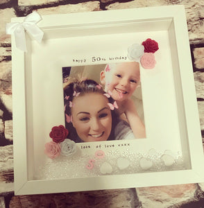 """Happy 50th Birthday"" Frame (any milestone, leave at checkout) fabric flowers - The Perfect Gift Co."