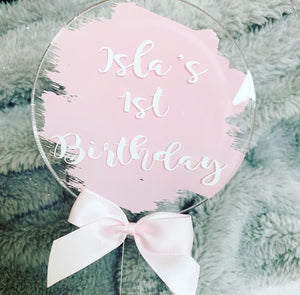 PERSONALISED CAKE TOPPER -PINK