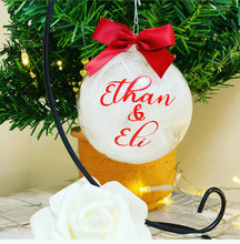 Personalised Traditional Red & White Christmas feathered Bauble 8cm - The Perfect Gift Co.