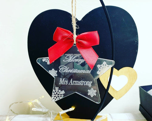 Teacher Acrylic Star bauble (leave bow choice at checkout) - The Perfect Gift Co.