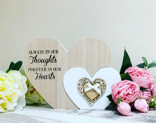 Freestanding Double Heart Thoughts Plaque - Large - The Perfect Gift Co.